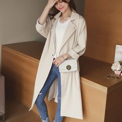 Cocofield - Plain 3/4 Sleeve Trench Coat