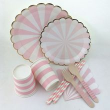 Palmy Parties - Disposable Printed Paper Plate / Cup /  Wooden Cutlery