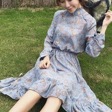 Kaboom - Floral Print Long Sleeve Mock Neck Chiffon Dress