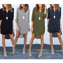 Dream a Dream - Long Sleeve Split Neck Dip Back Chiffon Dress