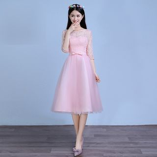 Amanecer - Elbow Sleeve Short Prom Dress / A-Line Evening Gown