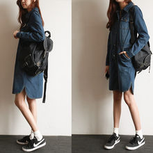 NIPONJJUYA - Round-Hem Denim Shirtdress