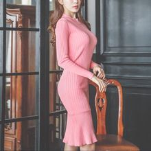 Aurora - Long-Sleeve Ruffle Sheath Dress