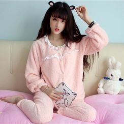 Anlay - Pajama Set: Bow Lace Long Sleeve Top + Pants