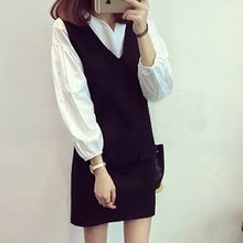 lilygirl - Set: Long-Sleeve Blouse + V-Neck Sleeveless Dress