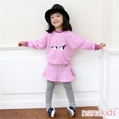 nanakids - Girls Set: Eye Print Sweatshirt + Inset Skirt Leggings