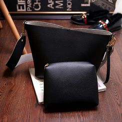 Diamante - Set: Faux Leather Shoulder Bag + Zip Pouch