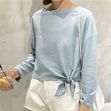 Rocho - Stripe Tie-Hem Long-Sleeve T-Shirt