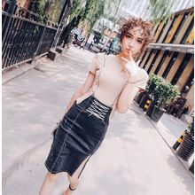 Tang House - Lace-Up High Waist Denim Skirt