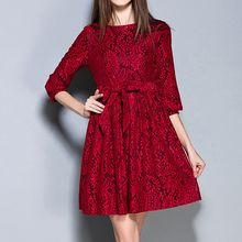 Merald - Lace Elbow Sleeve A-Line Dress