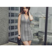 UUZONE - V-Neck Sleeveless Mini Dress