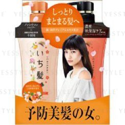 Kracie - Ichikami Moisturizing Hair Set (Apricot and Cherry): Shampoo 480ml + Conditioner 480ml
