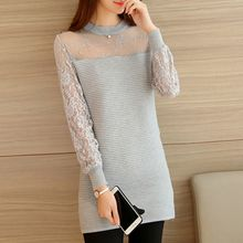 Ageha - Lace Long Sleeve Knit Dress