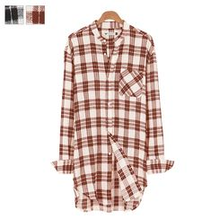 DANGOON - Mandarin-Collar Check Long Shirt