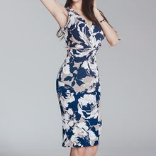 Aurora - Sleeveless Printed Slit-Back Dress