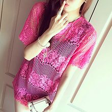 Melodious - Lace Short-Sleeve Cover-Up Tunic
