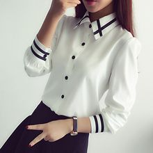 Yohana - Stripe Trim Long-Sleeve Shirt