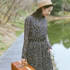 Sens Collection - Floral Print Frill Collar Long Sleeve Dress