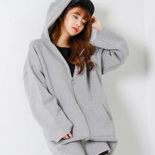 FASHION DIVA - Brushed-Fleece Lined Long Hoodie