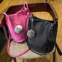 Ballerina Bags - Furry Ball Faux Leather Shoulder Bag