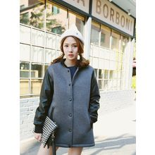 LOLOten - Faux-Leather Sleeve Neoprene Baseball Jacket