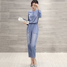 Romantica - Long-Sleeve Denim Playsuit