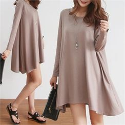 PINKSISLY - Asymmetric-Hem Mini T-Shirt Dress