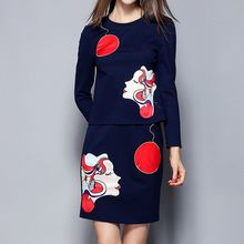 Merald - Set: Applique Long-Sleeve T-shirt + Skirt