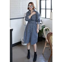 Miamasvin - Tie-Waist Striped Shirtdress