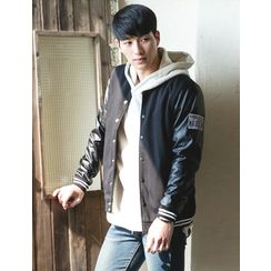 STYLEMAN - Faux-Leather Sleeve Baseball Jacket