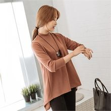 JOAMOM - Mock-Neck Asymmetric-Hem T-Shirt