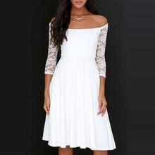 LIVA GIRL - Off Shoulder Laced 3/4 Sleeve A-Line Dress