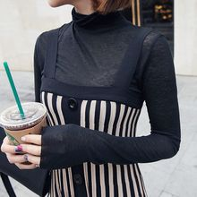 Seoul Fashion - Turtle-Neck Sheer Knit Top