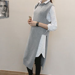 NANING9 - Wool Blend Side Slit Long Knit Vest