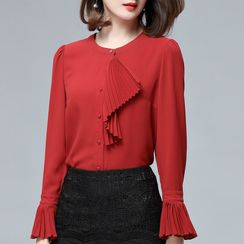 Sentubila - Pleated Bell-Sleeve Chiffon Blouse
