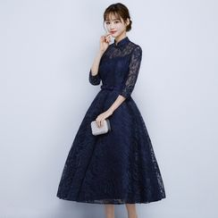 Luxury Style - 3/4-Sleeve Stand-collar Cocktail Dress