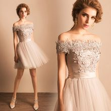 Angel Bridal - Short-Sleeve Lace Mini Prom Dress