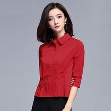 Sentubila - Pleated 3/4-Sleeve Shirt