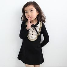 Pegasus - Kids Long-Sleeve Lace Trim Dress