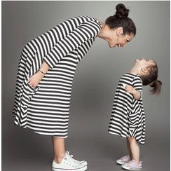 Sirena - Family Matching Striped A-Line Dress