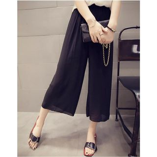 HazyDazy - Cropped Wide Leg Chiffon Pants