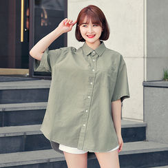 HOTPING - Loose-Fit Cotton Shirt
