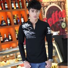 COOLIN - Printed V-Neck Long-Sleeve T-Shirt