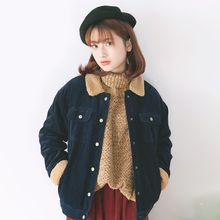 Kuki Cat - Fleece-Trim Corduroy Cropped Jacket