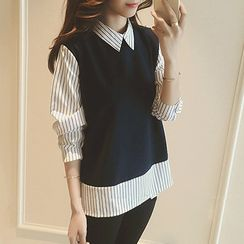 MayFair - Pinstripe Panel Long-Sleeve Blouse