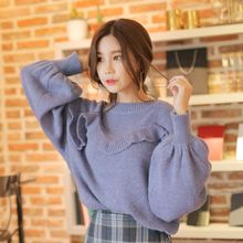 Cherryville - Ruffled Puff-Sleeve Sweater