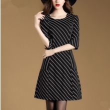 la nuit - Elbow-Sleeve Striped A-line  Dress