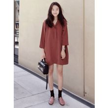 maybe-baby - Open-Placket 3/4-Sleeve Dress