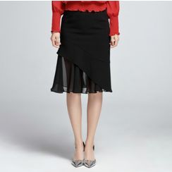 Sentubila - Pleated Chiffon Panel A-Line Skirt