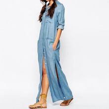 Quintess - Long-Sleeve Side-Slit Maxi Shirtdress